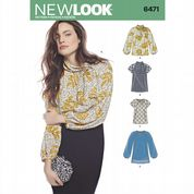 6471 New Look Pattern: Misses' Blouses with Neckline Variations